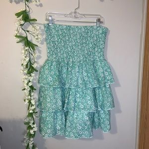Green floral stretchy summer dress old navy size L